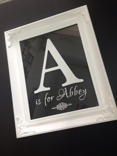 Custom made Baby Name Frame. Beautiful ornate white frame with white graphics. $80. Buy direct. Majopage Creative.