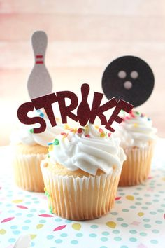 12 Bowling Cupcake Toppers, Bowling Party , Bowling Party Decorations, Bowling Cupcakes
