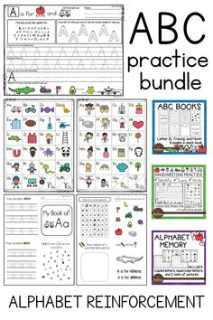 ABC practice bundle includes Alphabet handwriting practice, ABC letter books, and memory/card games. These activities reinforce letter identification, letter formation, basic sounds, and more.