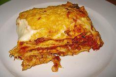 Béchamel minced meat lasagna from Kochprofie Easy Chicken Recipes, Easy Dinner Recipes, Easy Meals, Dinner Ideas, Dessert Recipes, Hamburger Meat Recipes, Crockpot Recipes, Crockpot Meat, Dinner Crockpot