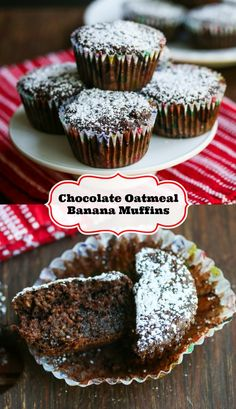 Gluten-Free Chocolate Oatmeal Banana Muffins Recipe - Jeanettes Healthy Living #glutenfree #recipes #gluten #recipe #healthy