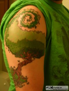 pixelated tree tattoo