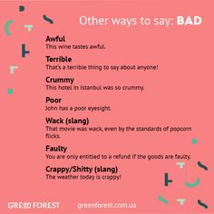Synonyms to the word BAD Other ways to say BAD English Adjectives, English Idioms, English Writing, English Lessons, English Vocabulary, English Grammar, English Vinglish, Writing Words, Writing Lessons