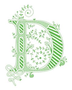 Hand drawn monogrammed print, 8x10, the Letter D, in the color green. $15.00, via Etsy.