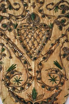 Detail stomacher, Germany, late 18th century. Silk, cotton, metal.