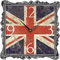 Union Jack Shabby Square Wall Clock – Next Day Delivery Union Jack Shabby Square Wall Clock from WorldStores: Everything For The Home Union Jack Decor, British Decor, Union Flags, Cool Clocks, Pintura Country, Blue Backgrounds, London Calling, British Bathroom, United Kingdom