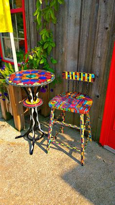 Reserved for N. by TheImpossibleChild on Etsy Hand Painted Furniture, Art Furniture, Mackenzie Childs Furniture, Home Decor Trends, Table And Chairs, Recycling, Artsy, Projects, Crafts