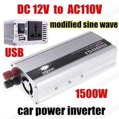 Car USB Charger Modified Sine Wave Wholesale 1500W DC 12V to AC110V Voltage Transformer Car Power Inverter
