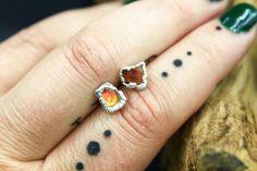 Carnelian Post Earrings in Rhodium Gold Hoop Earrings, Gold Hoops, Gemstone Earrings, Rustic Jewelry, Raw Gemstones, Chakra Healing, Modern Bohemian, Carnelian, Artisan Jewelry