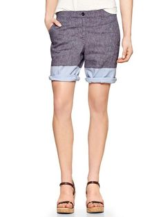 Colorblock chambray boyfriend roll-up shorts Product Image