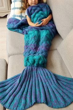 $21.46 Warmth Knitted Fish Scales Mermaid Blanket For Kids