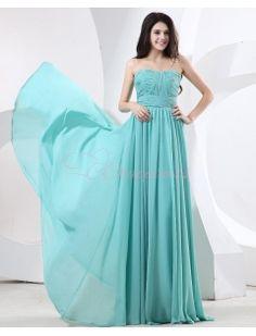 Bule Chiffon Strapless Ruffle Floor Length Evening Dresses http://pinterest.com/nfordzho/party-queen/