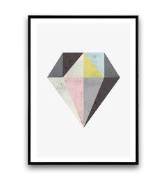 Abstract kunst aan de muur Diamond print aquarel door Wallzilla