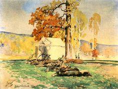 Julian Falat - After the Hunt - Po polowaniu 1898 Art Academy, Indian Summer, Outdoor Art, Impressionist, Poland, Hunting, Watercolor, Fine Art, Landscape