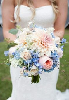 bouquet of cafe au lait dahlias, roses, garden roses, blue hydrangea, and delphinium. The PERFECT set of colors for a bouquet Blue And Blush Wedding, Blue Wedding Flowers, Bridal Flowers, Floral Wedding, Wedding Colors, Trendy Wedding, Periwinkle Wedding, Glamorous Wedding, Romantic Weddings