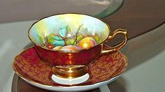 Antique Hammersley Ruby gold fruit signed tea cup and saucer