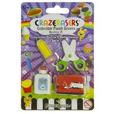 Stationery Maniac (4 Mini-Erasers) - CrazErasers: Collectible Erasers Series New