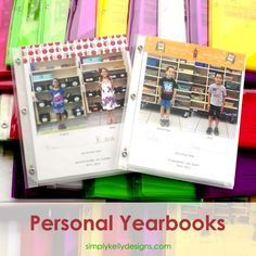 What a FANTASTIC idea - and a do-able one - for elementary school memories! Completed Personal Yearbooks For 2014-2015