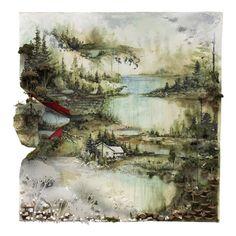 Album cover for Bon Iver: Acrylic, buckthorn root, dirt, found foam, geranium, moss, mylar, paper, pencil, photo transfer, pine cone, sedum, snow, sponge 35 x 35 (2010) www.gregoryeuclide.com