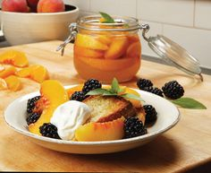 Recipe: Blackberries and Peaches in Sweet Basil Syrup with Cornmeal Pound Cake | Garden and Gun