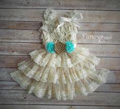 Burlap and Mint/Aqua Flower Girl Dress, Lace Flower Girl Dress,  Flower girl Dress, Rustic Flower Girl Dress, Lace Dress, mint , Aqua by byFancyPants on Etsy https://www.etsy.com/listing/237244151/burlap-and-mintaqua-flower-girl-dress