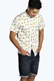 Short Sleeved Pinapple Print Shirt