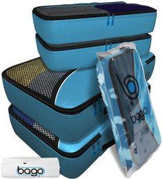 Bago imballaggio Cubes Viaggi Organizzatore per i bagagli, borse 4pcs con Protector Blu