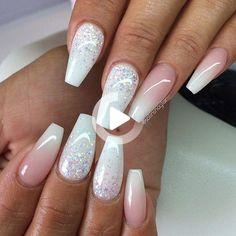 Nail Art Designs, Ombre Nail Designs, Simple Nail Designs, Nails Yellow, Pink Nails, Glitter Nails, Jade Nails, French Nails, Elegant Bridal Nails