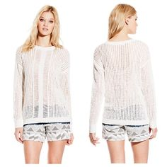 Vince Camuto Ivory Sweater NWT Crochet with middle yarn pattern retail $80 Vince Camuto Sweaters Crew & Scoop Necks