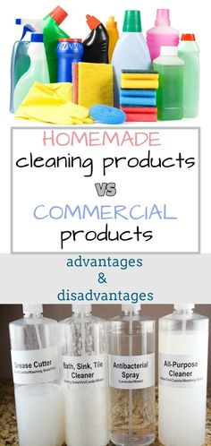 Read directions about homemade cleaning products VS commercial products – Advantages and disadvantages.