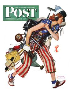 Rosie to the Rescue Saturday Evening Post Cover, September 4,1943 Giclee Print by Norman Rockwell at Art.com