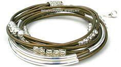 Leather Triple Wrap Boho Bangle Bracelet - Leather Wrap w/Silver accent Beads - Pick Color/Size - Tube Boho Bracelet - Made in Canada -  222