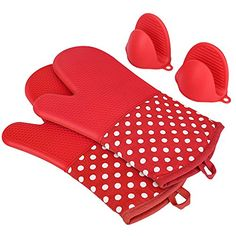 KEDSUM Heat Resistant Silicone Oven Mitts ,Extra Long Quilted Cotton Lining Potholder Gloves with Mini Oven Mitts --Non-Slip Kitchen Gloves for Baking, Cooking, BBQ  Feature: 1.KEDSUM Sili Mitts are heat resistant up to 450℉/ 200℃ and the silicone outer shell is completely waterproof,this means no more hot water burns or steam burns when