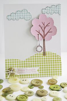 Becky Oehlers sports a gingham look giving this card creation fresh and happy twist. The tree topper can be stamped on patterned paper and trimmed OR cut from our digital die cut files. Super simple.