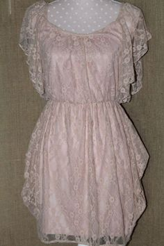 womens dress/ Backess/small/pink lace/lined/butterfly sleeves #Backless #Lacey #YouDecide