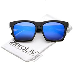 5461577df99 zeroUV Modern Square Color Mirrored Flat Lens Horn Rimmed Sunglasses 54mm  Horn