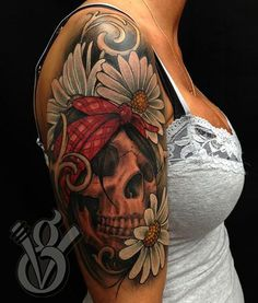 skull bandana floral daisy color arm sleeve tattoo woman female by Jon von Glahn : Tattoos Great Tattoos, Trendy Tattoos, Sexy Tattoos, Beautiful Tattoos, Body Art Tattoos, Feminine Skull Tattoos, Tattos, Elbow Tattoos, Tattoo Ink