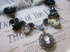 Ladies of the Night  Vintage Cameo Necklace Upcycled by TheDarkAtHeart, $68.00 black dark gothic theater