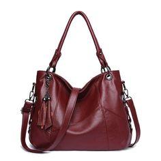 Women Leather Handbags Women Messenger Bag Crossbody Bags Bolsa Tote Shoulder Bags Sac A Main Color Red - Products -