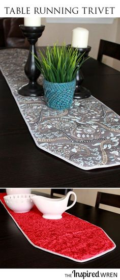 Great pictorial illustrating how to sew a table runner that functions as a hot-pad/trivet -- and it's reversible! | The Inspired Wren