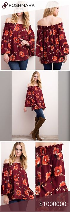 Arriving soon! Bold autumn color off shoulder top! Lovely in rust and burgundy!! Tops Blouses