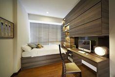 Dunearn, Modern Condominium Interior Design, Bedroom with Study Area.