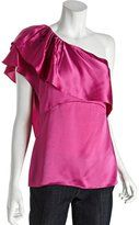 BCBGMAXAZRIA pink satin ruffled one shoulder blouse