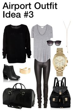 """""""Airport Outfit Idea #3"""" by nozomy ❤ liked on Polyvore featuring Helmut Lang, Forever New, Tory Burch, Michael Kors, Fendi, Giles & Brother and H&M"""