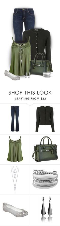 """Simple Cardigan"" by stileclassico ❤ liked on Polyvore featuring Trilogy, True Religion, P.A.R.O.S.H., Topshop, Coach, BERRICLE, David Yurman, Melissa, GREEN and jeans"