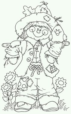 Scarecrow Coloring Pages Printable - Coloring For Kids 2019 Fall Coloring Pages, Halloween Coloring Pages, Adult Coloring Pages, Coloring Pages For Kids, Coloring Books, Free Coloring, Free Colouring Pages, Halloween Coloring Pictures, Fall Coloring Sheets