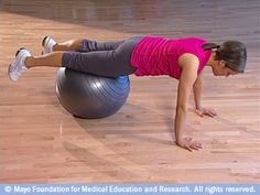 exercises strengthen your core muscles, including the muscles in your abdomen and back. You can do many core exercises with a fitness ball. Let's try the plank. Core Strength Exercises, Core Exercises, Circuit Exercises, Fitness Goals, Health Fitness, Back Pain Relief, Core Muscles, Excercise, Exercise Ball