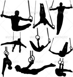 Gymnastics Rings Silhouettes. EPS and AI files are saved in Illustrator 10, layered and fully editable. 70007370 JPG is included