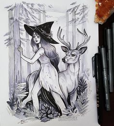 "1,778 Likes, 43 Comments - Amanda. (@amandajtoner) on Instagram: "" INKTOBER DAY 5 Forest Witch. Wanted to try something a lil different for me with this one as I…"""