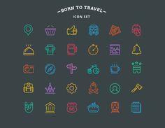Born-to-travel-outline-icon-set